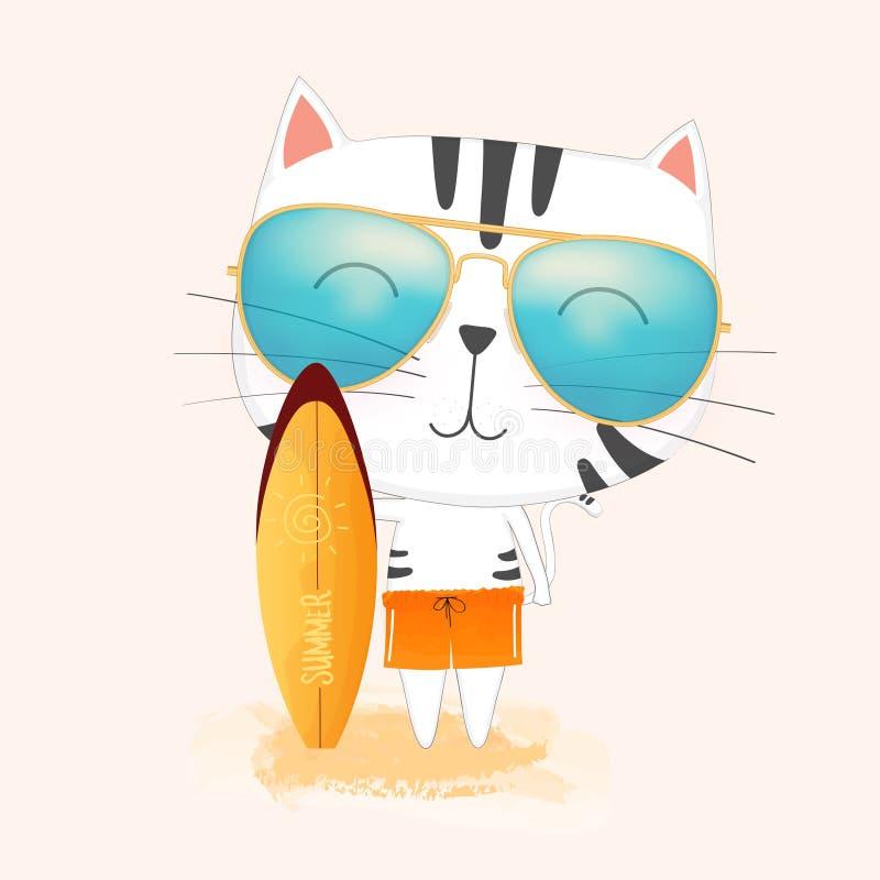 逗人喜爱的拿着在海滩的动画片猫佩带的太阳镜一个冲浪板 向量例证