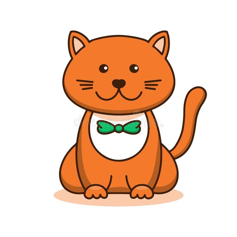 逗人喜爱的红色猫,动画片线性艺术,动物剪影 小的微笑小猫的传染媒介例证在蝶形领结,平的概述样式gteen, 皇族释放例证