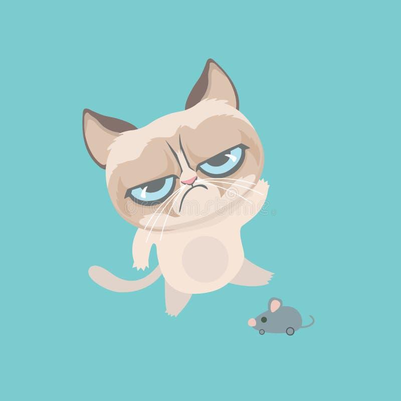 逗人喜爱的脾气坏的猫 库存例证
