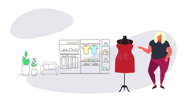 选择在大小女性衣裳市场购物中心内部剪影流程的肥胖超重妇女新的礼服时尚商店 皇族释放例证