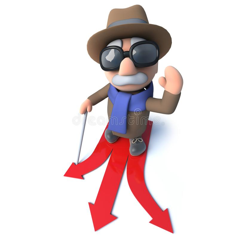 选择哪个方向的滑稽的3d动画片盲人字符旅行 向量例证