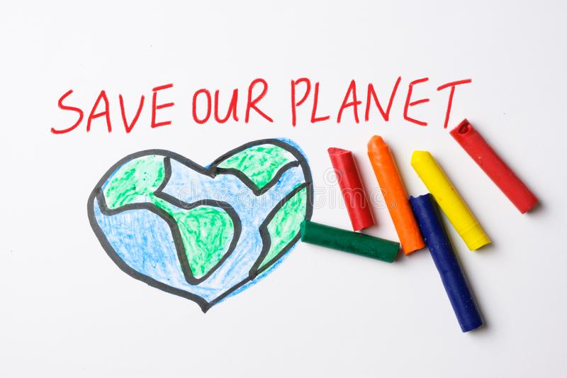 除我们的与颜色蜡笔的行星图画外 免版税库存照片