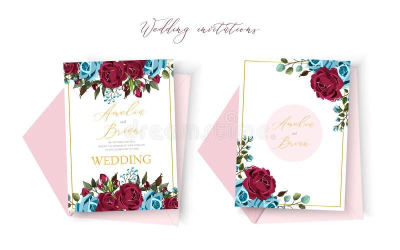 除日期设计外的婚姻的花卉金黄请帖与bordo水军蓝色玫瑰 皇族释放例证