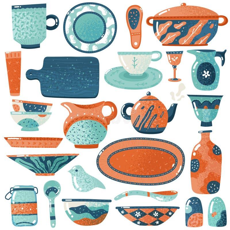 陶瓷陶器eps JPG 家庭厨房被隔绝的陶器器物碗筷投手罐碗杯子装饰盘土气盛奶油小壶 库存例证
