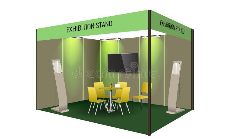 陈列立场与桌和椅子,信息板的显示器设计 公司的商业陈列摊模板 向量例证