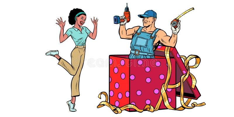 钻子工作者节日礼物箱子 非洲在白色背景的妇女滑稽的反应孤立 皇族释放例证