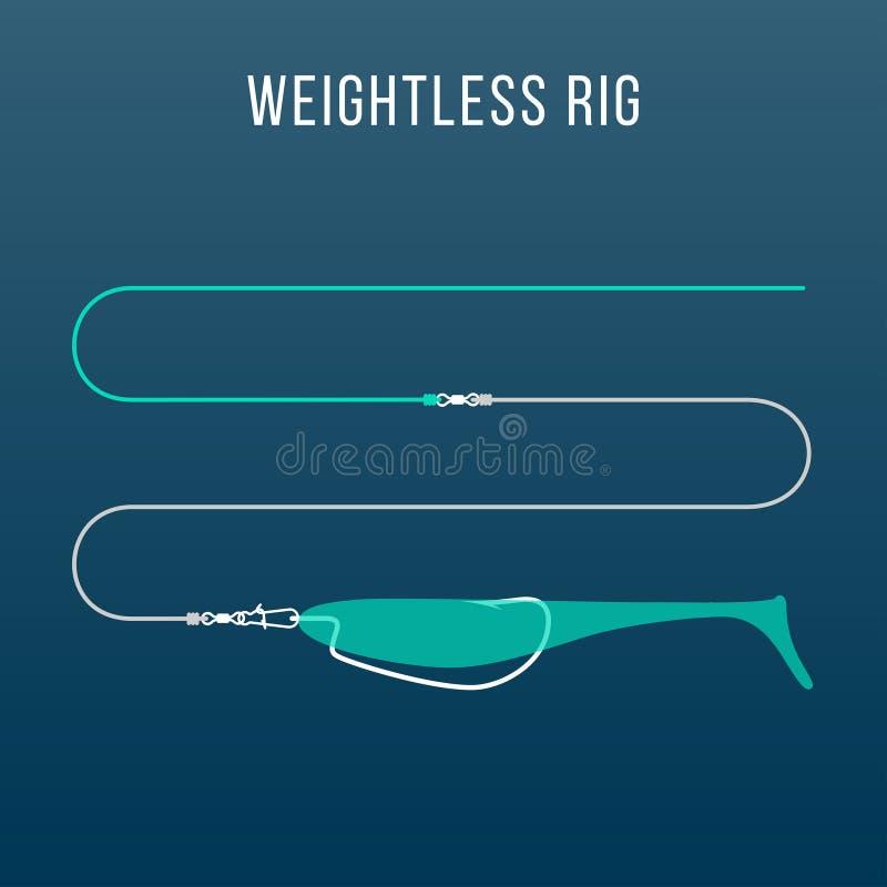 钓鳕鱼的失重的被装配的软的塑料诱饵设定 向量例证