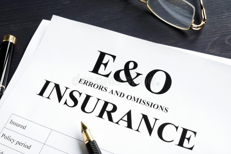 错误和遗漏保险E&O形式 专业责任 库存照片