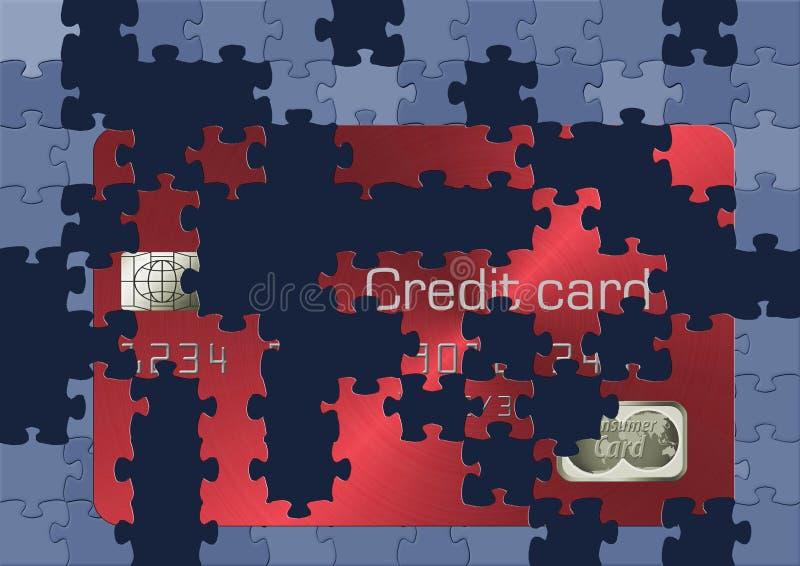 É algo que falta de seu cartão de crédito como partes de um enigma ilustração royalty free