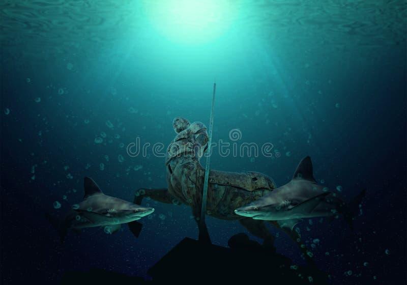 É fundo natural com água azul grande de tubarões de touro na claro de Oceano Atlântico No chão do oceano encontra-se uma estátua  fotografia de stock royalty free