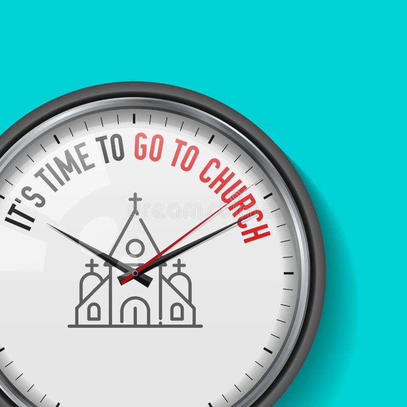 É hora de ir à igreja Pulso de disparo do vetor com slogan inspirador Relógio análogo do metal com vidro Ícone cristão do templo ilustração stock
