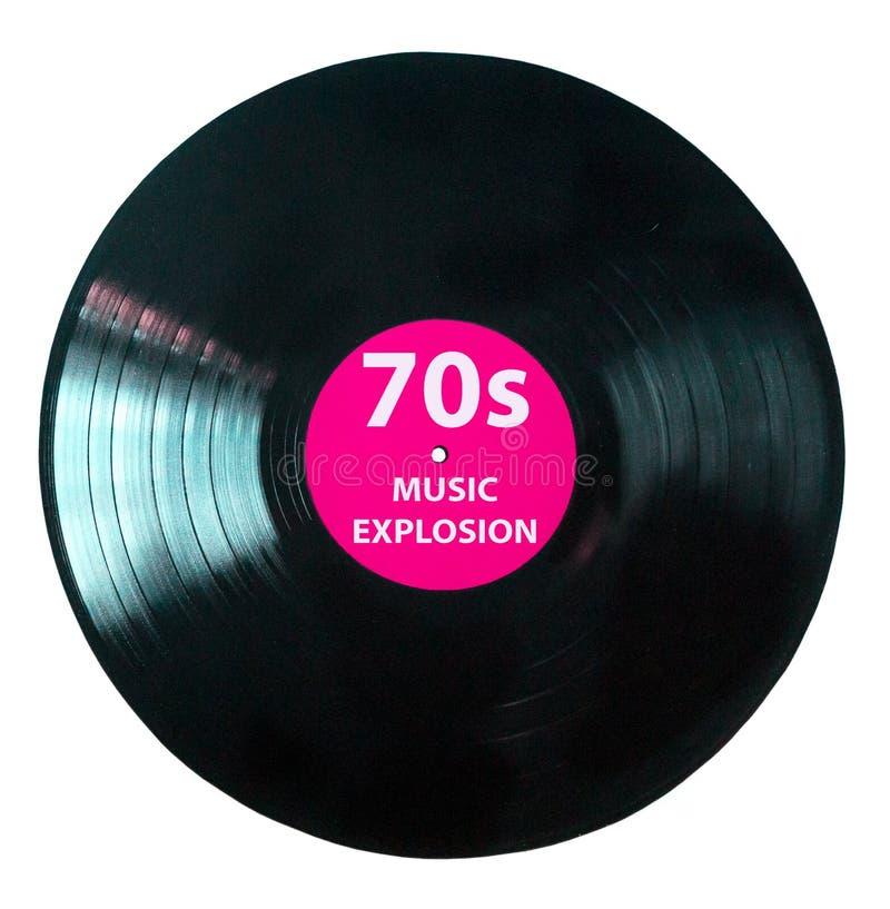É hora para os anos 70 - vintage da música do jogo do registro de vinil - registro de vinil preto isolado no fundo branco ilustração do vetor