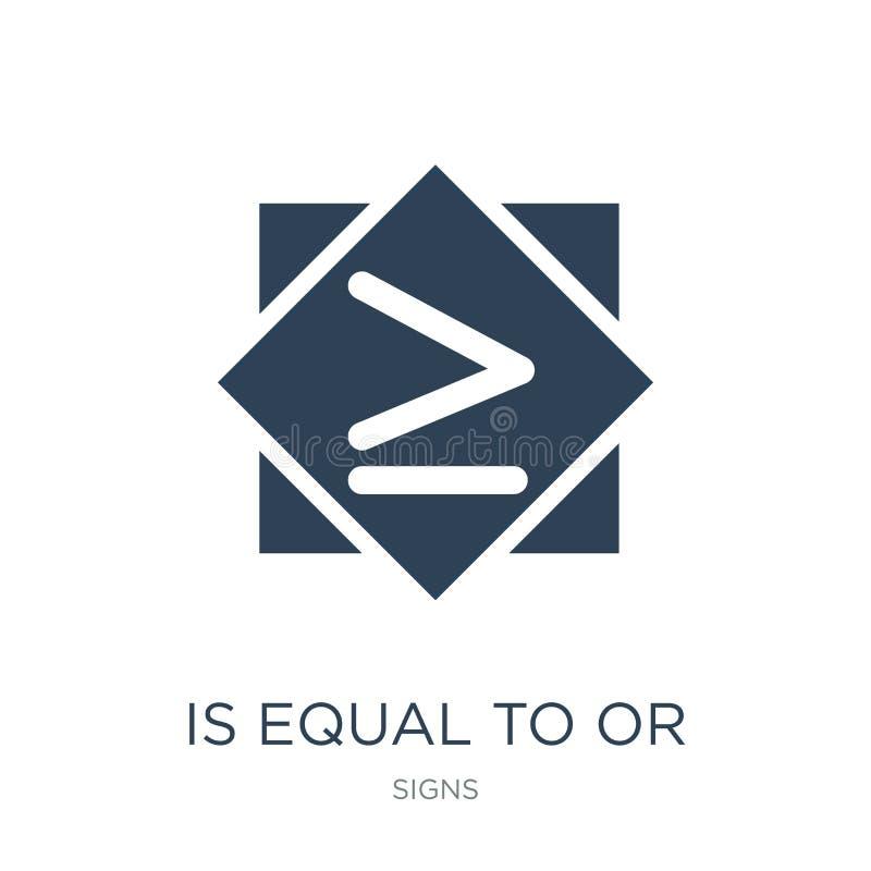 é igual ou maior do que ao ícone no estilo na moda do projeto é igual ou maior do que ao ícone isolado no fundo branco é igual ilustração royalty free