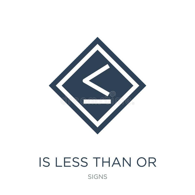 é inferior ou igual ao ícone no estilo na moda do projeto é inferior ou igual ao ícone isolado no fundo branco é menos do que ou ilustração do vetor