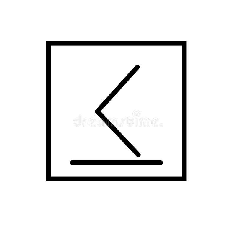 É inferior ou igual ao vetor do ícone isolado no fundo branco, é inferior ou igual a elementos do sinal, da linha e do esboço den ilustração stock