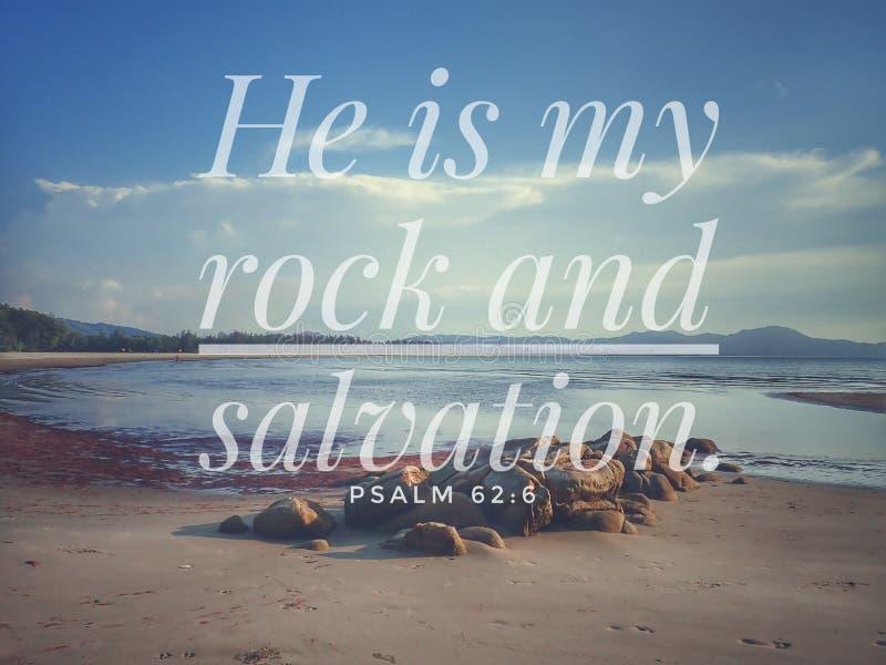 É minha rocha e o salvação com fundo do vintage do projeto do verso da Bíblia para a cristandade do dia, seja incentivado ilustração royalty free