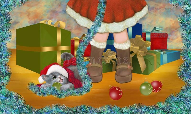 É Natal! Você gosta de jogar comigo? ilustração stock