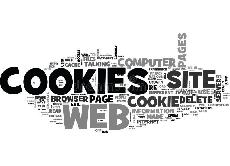 É o mal das cookies que serviço faz cookies executa em uma nuvem da palavra do web browser ilustração stock