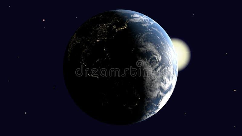 É Oceania visível e Austrália, 3Sudeste Asiático e a Índia na terra iluminada pelo sol gerenciem em torno de sua linha central no ilustração stock