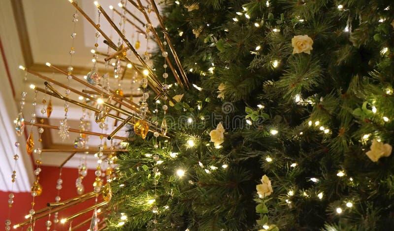É sempre uma tradição anual da rainha Victoria Building para colocar a árvore de Natal de Swarovski cada Natal fotografia de stock royalty free