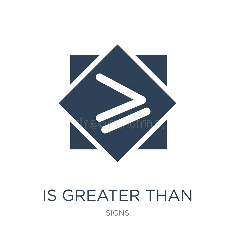 é superior ou igual ao ícone no estilo na moda do projeto é superior ou igual ao ícone isolado no fundo branco é maior ilustração stock