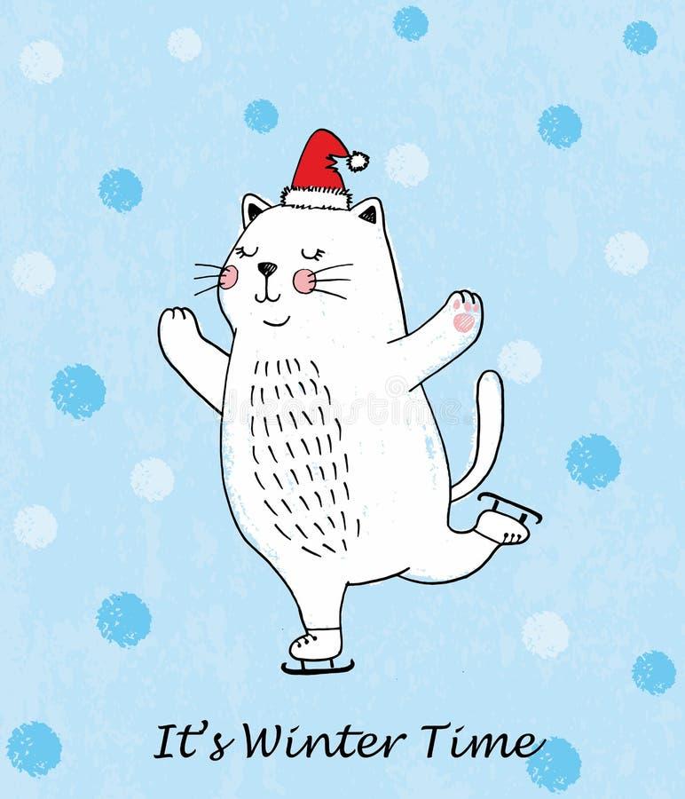 É tempo de inverno Ilustração do vetor da garatuja do gato branco de patinagem engraçado com neve ilustração stock