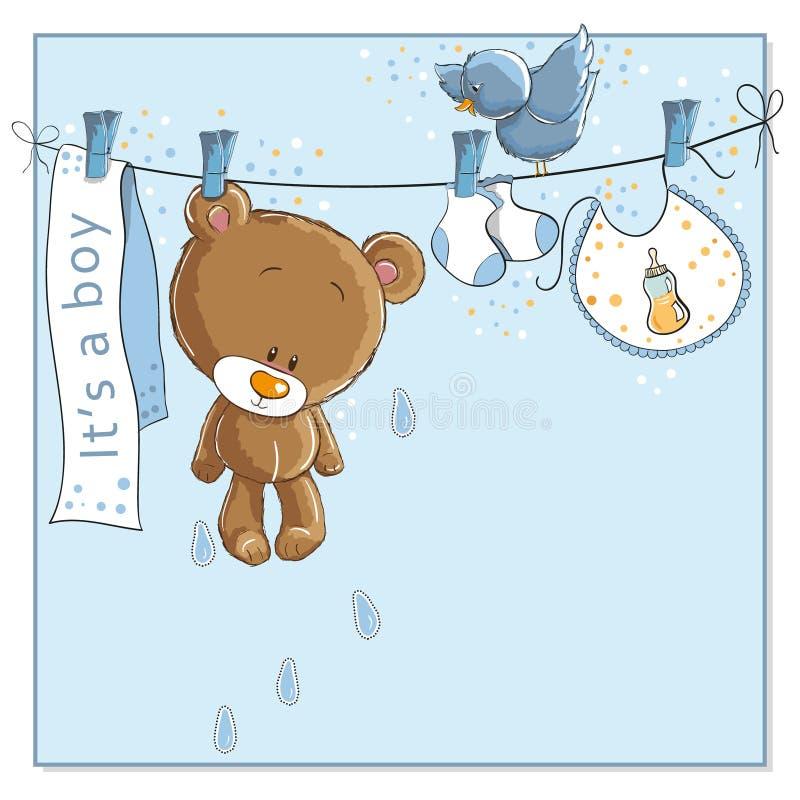 É um menino - cartão do anúncio do bebê ilustração royalty free