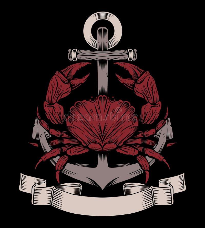 É uma âncora com caranguejo ilustração royalty free