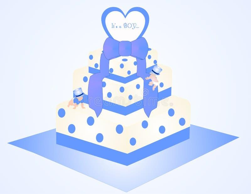 É uma ilustração do bolo do menino ilustração royalty free
