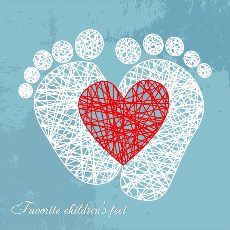 É uma menina, pés do bebê dentro do coração cor-de-rosa, ilustração do vetor ilustração do vetor