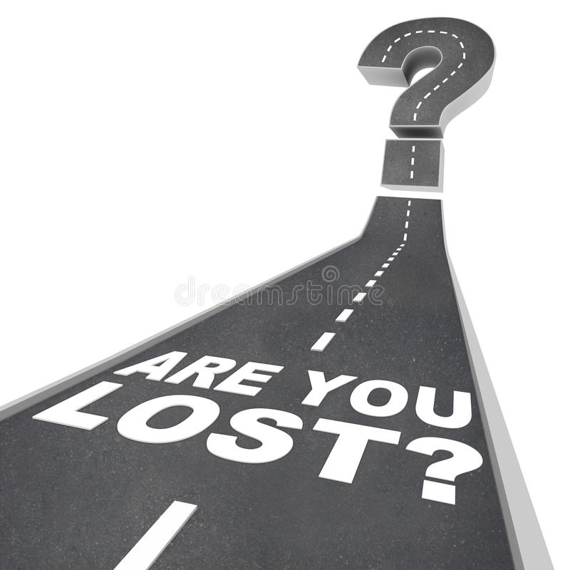 É você ponto de interrogação perdido das palavras na confusão do pavimento de estrada ilustração stock