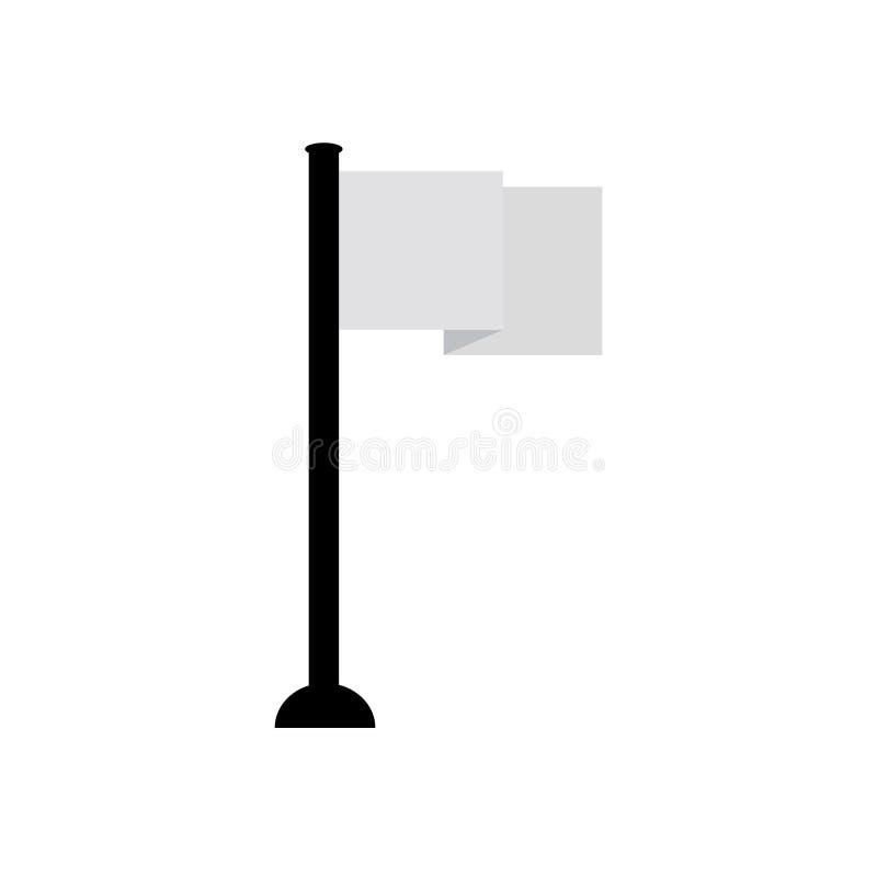 Ébauche plate simple de dessin de vecteur de conception de mât de drapeau illustration libre de droits