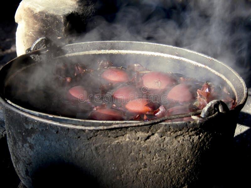 Ébullition traditionnelle d'oeufs de pâques photographie stock
