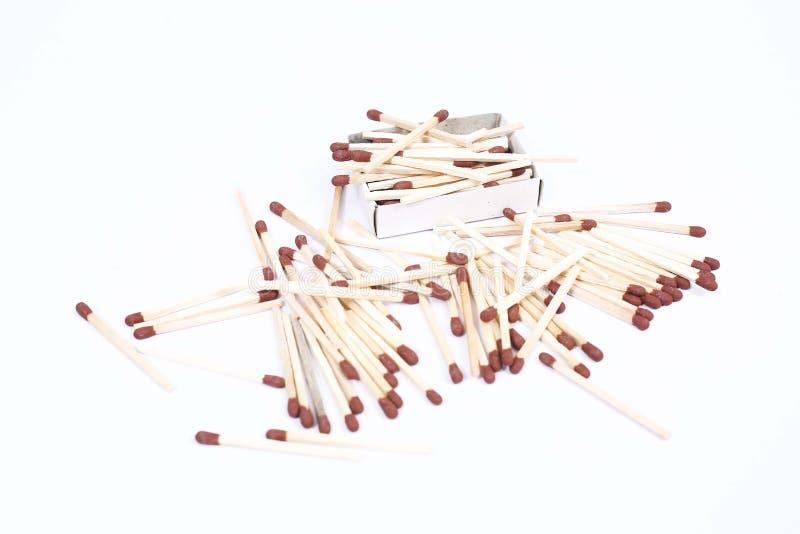Écartez des matchs en bois bruns photo stock