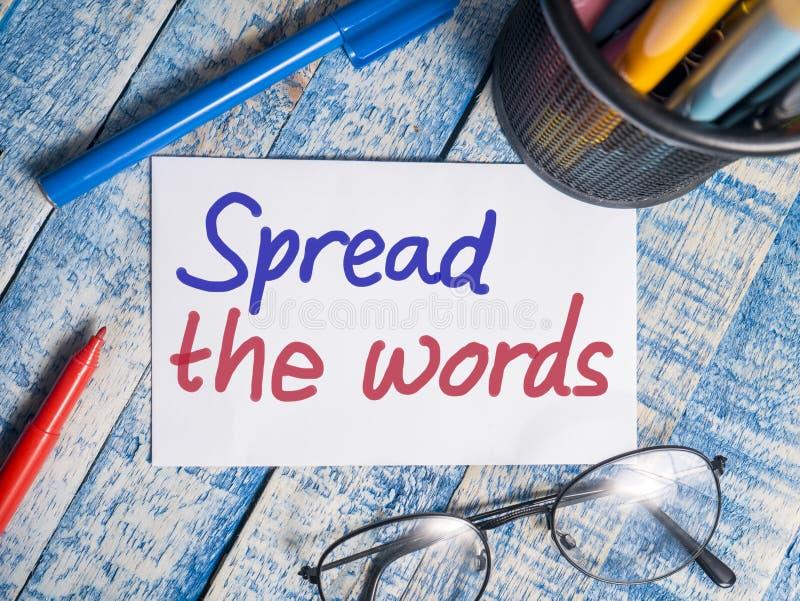 Écartez les mots, concept de motivation de citations de mots photos libres de droits