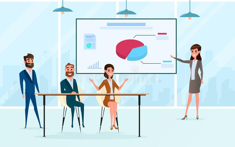 Échange d'idées d'équipe d'affaires, parlant, discutant dans le lieu de réunion Présentation du marché de projet et de plan illustration stock