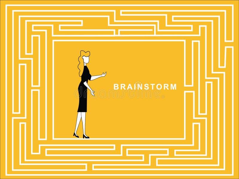 Échange d'idées femelle dans le chemin de puzzle illustration de vecteur