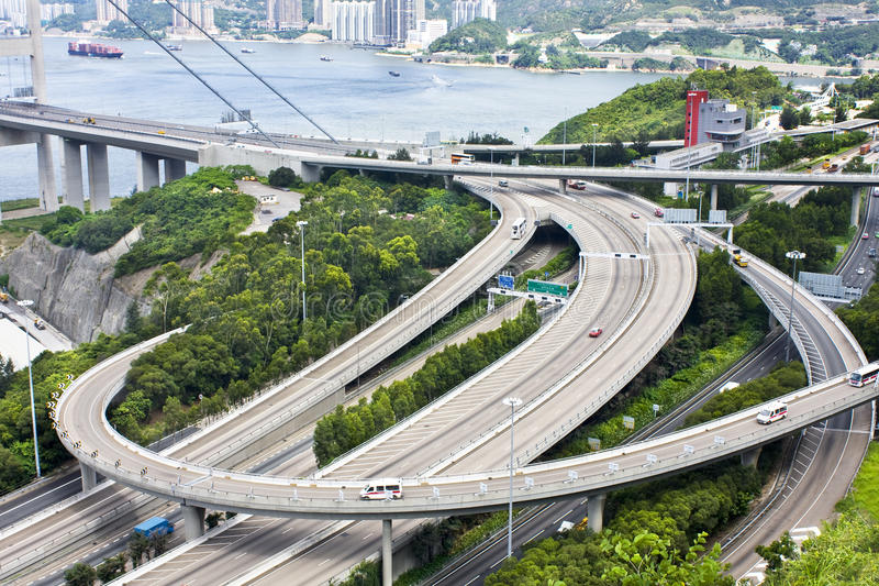 Échange d'omnibus à Hong Kong photos libres de droits
