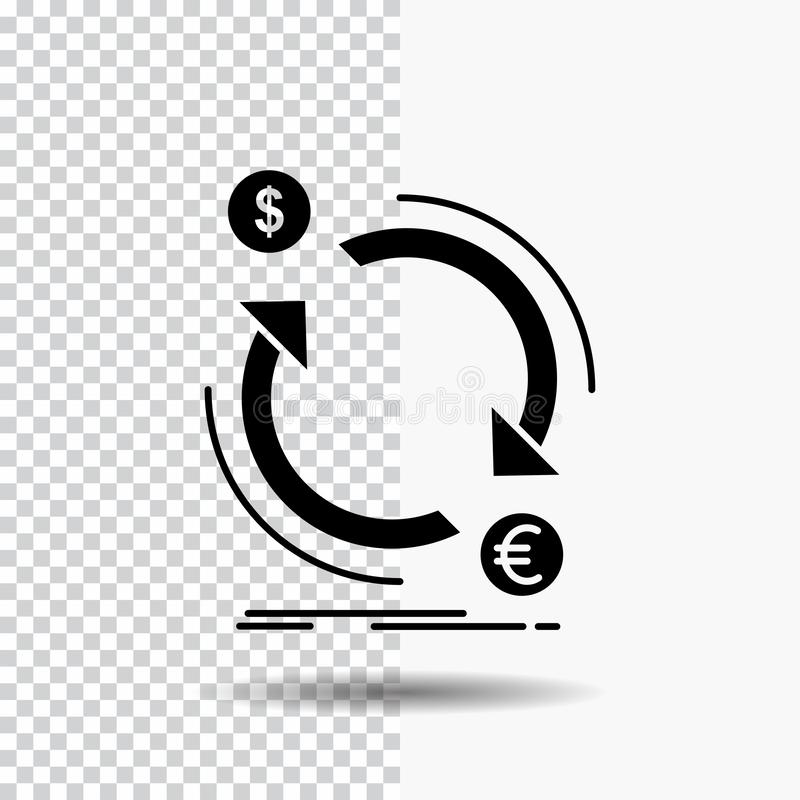 échange, devise, finances, argent, icône de Glyph de converti sur le fond transparent Ic?ne noire illustration libre de droits