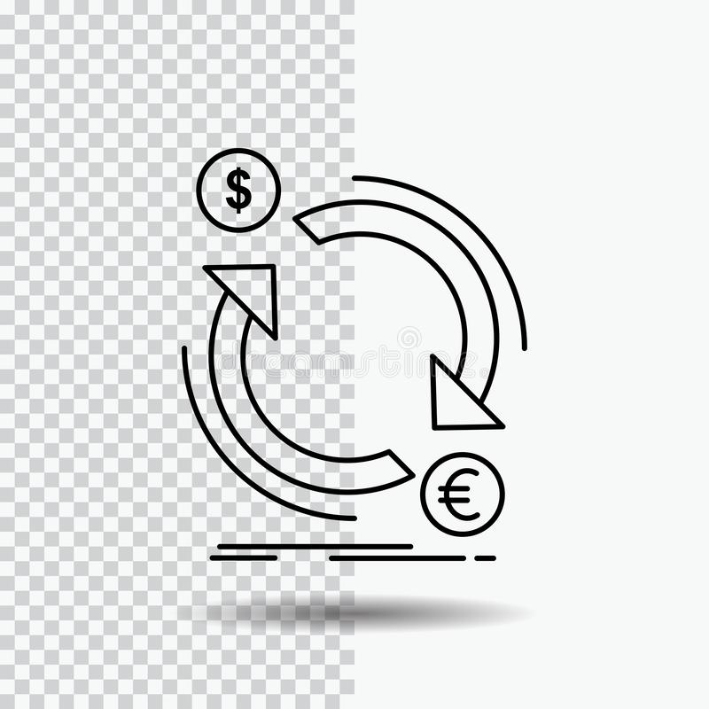 échange, devise, finances, argent, ligne de converti icône sur le fond transparent Illustration noire de vecteur d'ic?ne illustration de vecteur