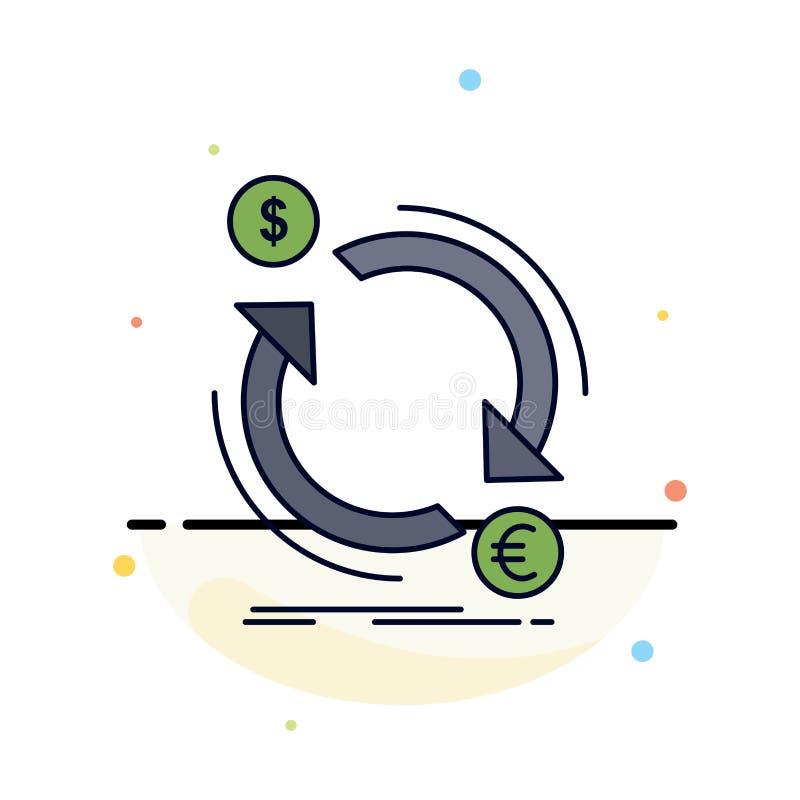 échange, devise, finances, argent, vecteur plat d'icône de couleur de converti illustration de vecteur