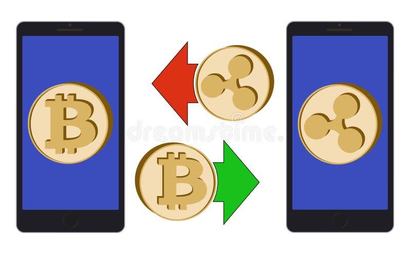 Échange entre le bitcoin et l'ondulation dans le téléphone illustration de vecteur