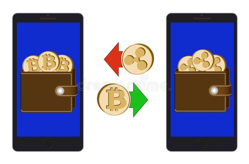 Échange entre le bitcoin et l'ondulation dans le téléphone illustration libre de droits