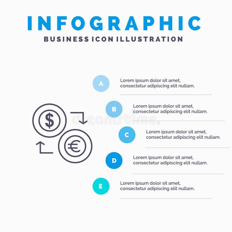 Échange, pièces de monnaie, devise, dollar, euro, finances, financières, ligne icône d'argent avec le fond d'infographics de prés illustration libre de droits