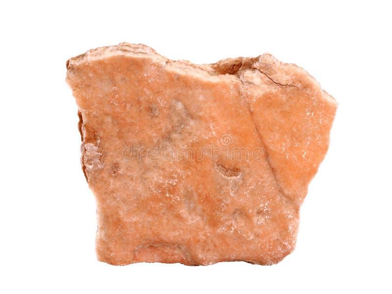 Échantillon naturel de gypse rose réuni de longeron de satin sur le fond blanc image stock