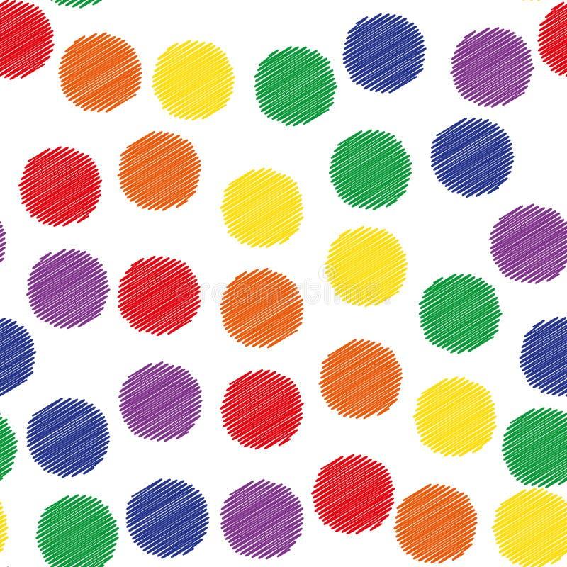 Échantillon sans couture - cercle multicolore ombragé chaotiquement localisé illustration de vecteur