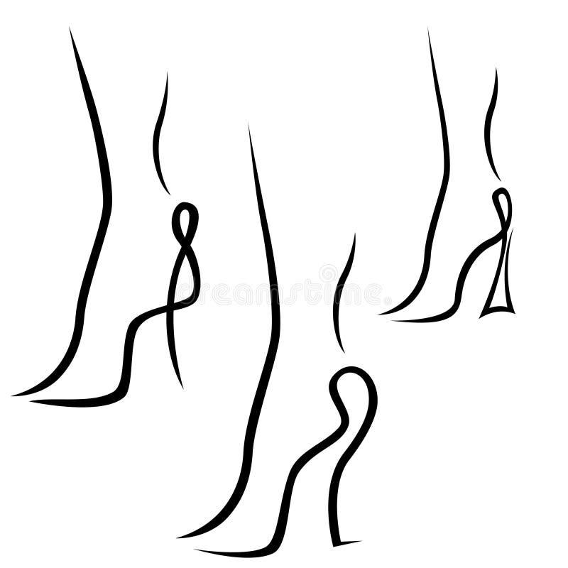 Échantillons abstraits de pieds femelles gracieux illustration de vecteur