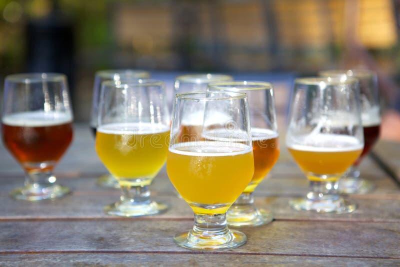 Échantillons de bière de métier en verres dehors photo libre de droits