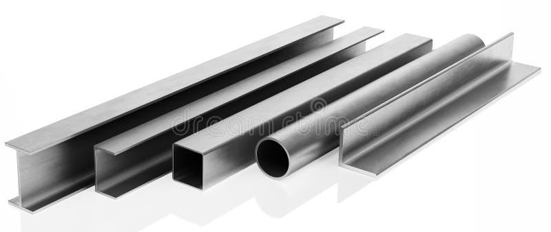 Échantillons de faisceaux en acier et tuyaux sur le fond blanc illustration de vecteur