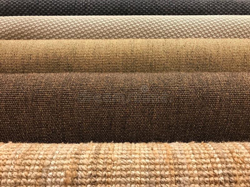 Échantillons de texture tissée différente de tapis de sisal et naturel image libre de droits